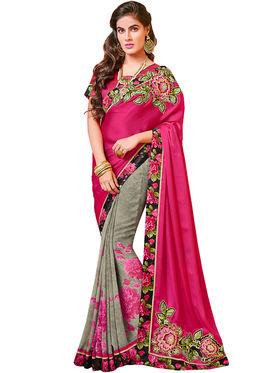Indian Women Florat Print Satin Chiffon & Georgette Saree -Ic11234