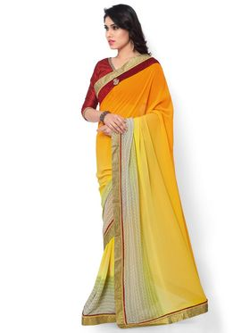 Indian Women Printed & Embroidered Georgette Saree -ic09
