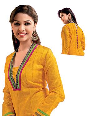 Ishin Embroidered Cotton Kurti -Yellow