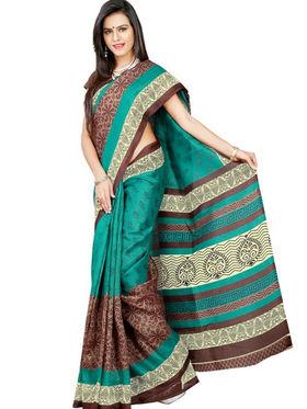 Inddus Bhagalpuri Silk Printed Saree - Multicolor - IND-BC-12007-A