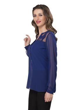 Ishin Georgette Solid Top - Blue_INDWT-5031