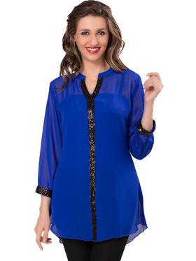 Ishin Georgette Solid Top - Blue_INDWT-5033