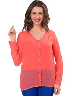 Ishin Georgette Solid Top - Pink_INDWT-5062