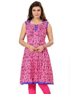 Ishin Poly Cotton Printed Kurti - Pink_ADNK-204