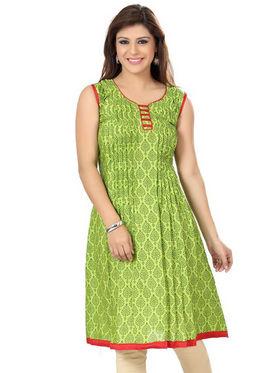 Ishin Poly Cotton Printed Kurti - Green_ADNK-215