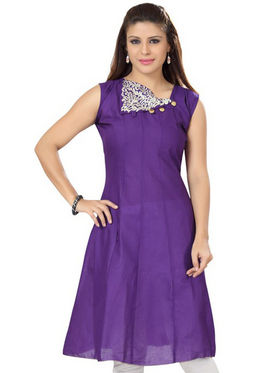 Ishin Poly Cotton Printed Kurti - Blue_ADNK-298