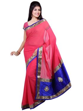 Ishin Georgette  Printed Saree - Pink-ISHIN-1402