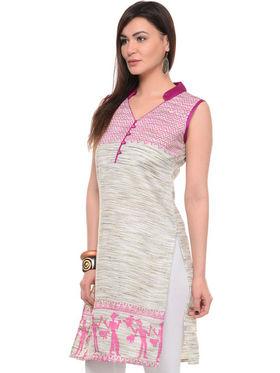 Lavennder Khadi Printed Kurti - Cream - LK-62142