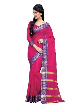 Ishin Cotton Embroidered  Saree - Pink