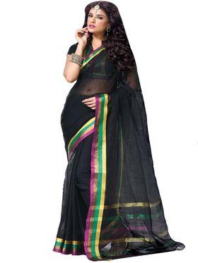 Ishin Cotton Plain Saree - Black - MFCS-Layla-A