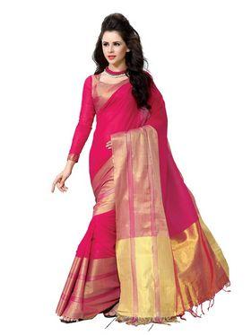 Ishin Cotton Solid Saree - Red-MFCS-Vivian