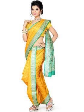 Ishin Poly Silk Printed Nauvari Saree - Yellow - SNGM-1883