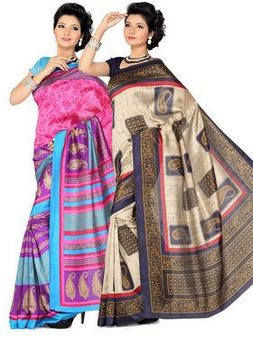 Combo of 2 Ishin Art Silk Printed Saree - Combo-400
