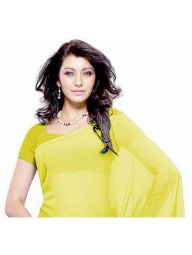 Khushali Fashion Georgette Plain Saree(Yellow)_JAZZ505