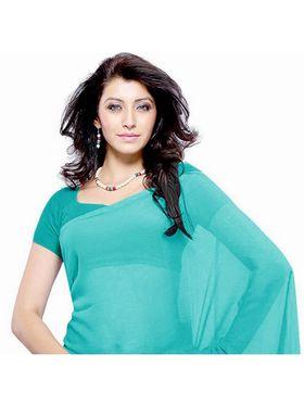 Khushali Fashion Georgette Plain Saree(Light Blue)_JAZZ520