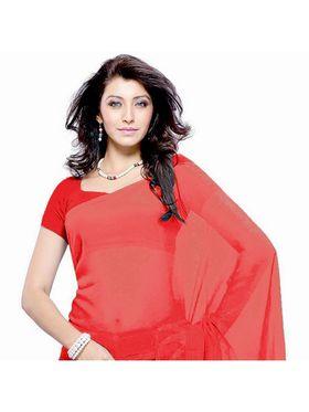 Khushali Fashion Georgette Plain Saree(Red)_JAZZ559