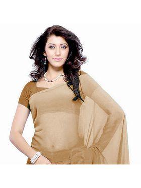 Khushali Fashion Georgette Plain Saree(Beige)_JAZZ597