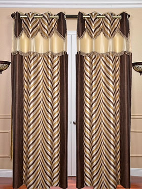 Set of 2 JBG Fancy Lace V design Door Curtains - Brown & Cream- JBG368