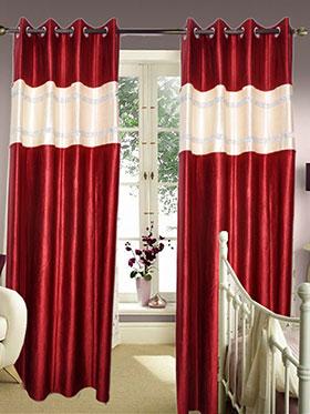 Set of 2 JBG Luxury Diamond Lace Design Door Curtains - Maroon & Cream- JBG410