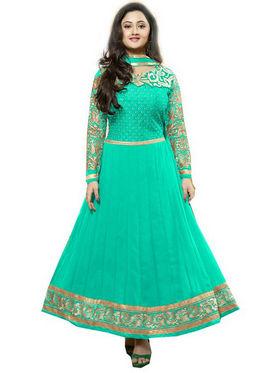 Javuli Georgette Embroidered  Dress Material - Green - kavya-Green