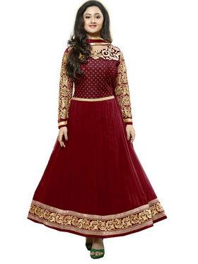 Javuli Georgette Embroidered  Dress Material - Maroon - kavya-Maroon