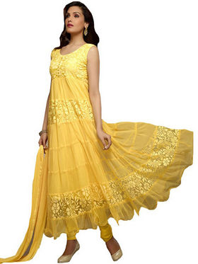 Javuli Georgette Embroidered  Dress Material - Yellow - net-yellow
