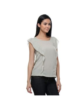 Kaxiaa Poly Georgette Solid Top -K-TO-21161F