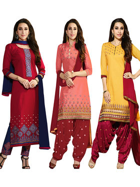 Combo of 3 Khushali Fashion Cotton Embroidered Unstitched Dress Material -Kfcmbo003