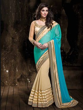 Viva N Diva Georgette Floral Embroidery Saree -Kalki-03-3002