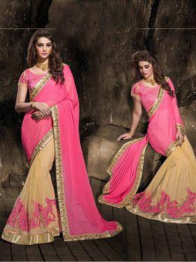 Viva N Diva Chiffon And Net Floral Embroidery Saree -Kalki-03-3014