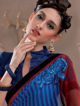 Viva N Diva Georgette Embroidered Saree Kanvi-2252
