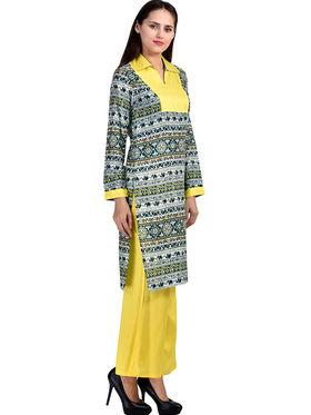 Combo of 3 Arisha Rayon Printed Stitched Kurti & Plain Palazzo & Leggings Set Krt-Plzo-01