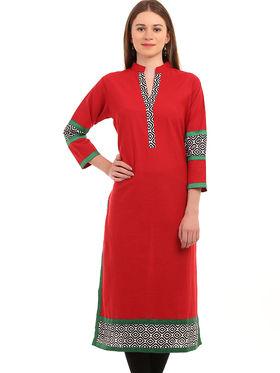 Kyla F Khadi Printed Kurti - Red - KYL5016