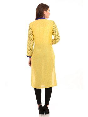 Kyla F Ryon Printed Kurti - Yellow - KYL5023