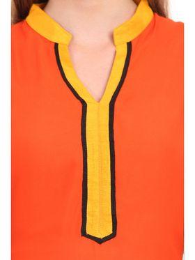 Kyla F Ryon Printed Kurti - Orange - KYL5034