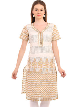 Kyla F Cotton Printed Kurti - White - KYL582