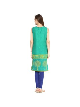 Kyla F Cotton Embroidered Kurti - Green - KYL593