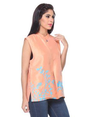 Lavennder Khadi Hand Paint Summer Jacket -LJ-24107