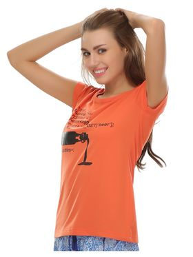 Clovia Cotton Lycra Printed T-Shirt -LT0010P16