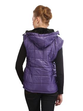 Lavennder Poly Synthetic Leather Plain Jacket - Dark Purple - 41028