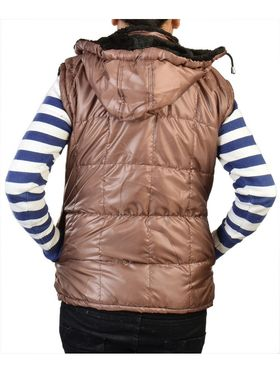 Lavennder Poly Synthetic Leather Plain Jacket - Brown - 41060