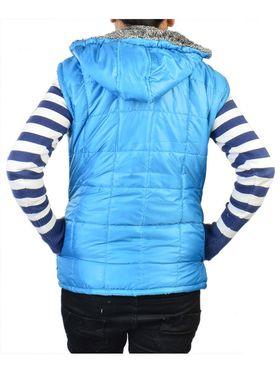Lavennder Poly Synthetic Leather Plain Jacket - Sky Blue - 41063