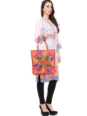 Lavennder Rayon and Dupion Silk Printed Kurti with Tote Bag - LK-62011