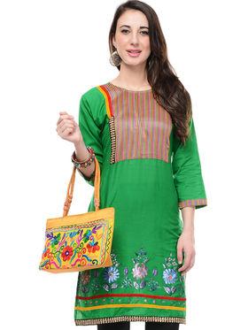 Lavennder Cotton and Dupion Silk Printed Kurti with Hand Bag - LK-62023