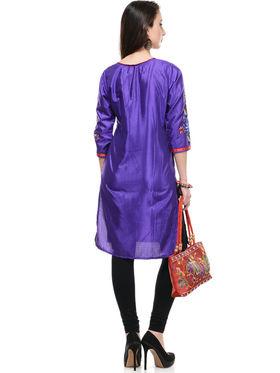 Lavennder Shantoon and Dupion Silk Printed Kurti with Hand Bag - LK-62030