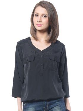 Meira Poly Crepe Solid-Top - Black - MEWT-1042-K