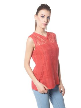 Meira Cotton Solid Top - Red - MEWT-1165-C