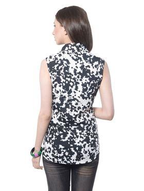Meira Poly Crepe Printed-Top - Black - MEWT-1167-B