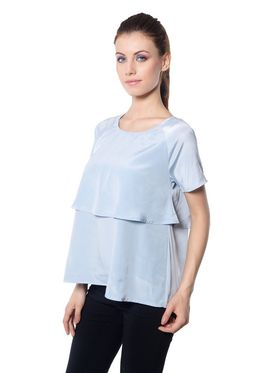 Meira Crepe Solid-Top - Light Grey - MEWT-1176-A