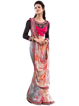 Nanda Silk Mills Designer Printed Georgette Sarees With Embroidered Blouse Piece  _MK-2015